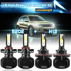 Combo H13 9008 5202 2504 Psx24w Led Headlight Bulb Highlow Beam Fog Light Usa