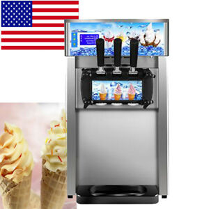 usa commercial Soft Serve Ice Cream Machine Frozen Yogurt 3flavor Mixed Taste