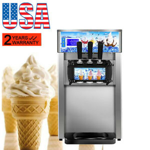 Commercial Soft Serve Ice Cream Machine Frozen Yogurt 3flavor Taste Dessert Fda