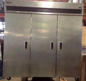 Delfield 3 Door Reach In Pass Through Stainless Refrigerator Cooler Used