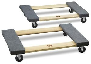 Wen 721830 1000 pound Capacity 18 by 30 inch Hardwood Mover s Dolly 2 pack