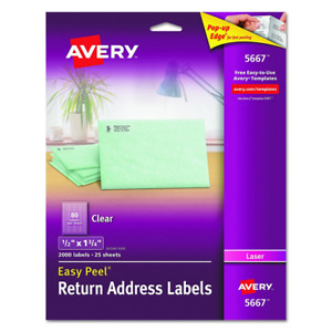Avery Clear Easy Peel Return Address Labels For Laser Printers 1 2 X 1 3 4 Pa