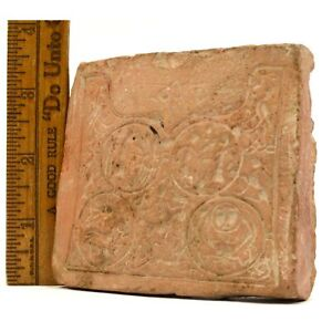 Ancient Primitive Story Tile Carved Old Pottery Plaque Pre Columbian Near East