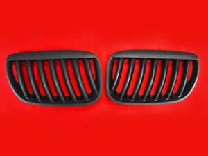 pair Matte Black Front Nose Kidney Grill Grille For 2004 2006 Bmw E53 X5