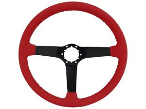 Volante Step Series Red Leather 6 Bolt Steering Wheel Solid Black Spoke