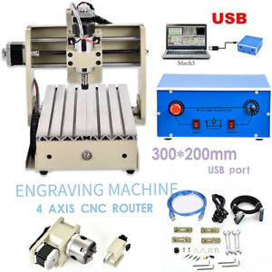 Usb Cnc Router Engraver Engraving Cutter 4 Axis 3020t Woodworking Cutting 300w
