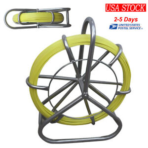 6mm Fish Tape Fiberglass Wire Cable Running Rod Duct Rodder Puller Easy Use 130m