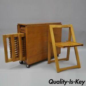 Vtg Hideaway Mid Century Modern Compact Dining Set Gateleg Table 4 Folding Chair