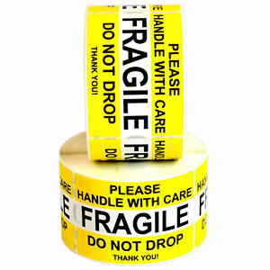 2 X 3 Quality Fragile Sticker Handle With Care Do Not Drop Waterproof Yellow