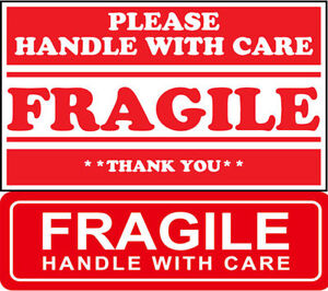 Red Fragile 1 x3 2 x3 Fragile Sticker Handle With Care Fragile Do Not Bend