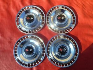 Vintage Nos 1961 Chevy Impala Belair 14 Racing Flag Hubcaps Wheel Covers