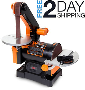 Belt Sander 1x30 Machine With Sanding Disk Woodworking Heavy Duty Bench Grinder