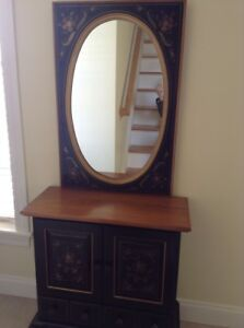 Ethan Allen Hitchcock Style Black Stenciled Console Table With Mirror 1970 S Euc