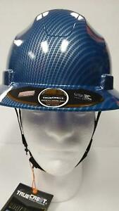 Hdpe Hydro Dipped Blue silver Full Brim Hard Hat With Fas trac Suspension