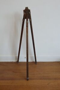 Vintage Antique 1940 s Japanese Wooden Tripod Measuring Tool Device Look