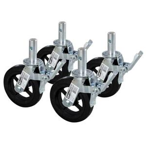 8 In Industrial Caster Wheels Heavy Duty Weather Resistant Double lock Design