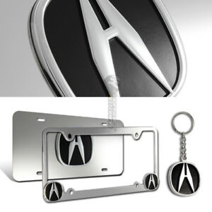 3d Acura Logo Stainless Steel License Plate Frame 3pcs Front back keychain Set