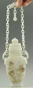 China Old Natural Hetian Jade Hand Carved Statue Jade Chain Bottle Rings Vase