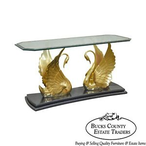 Hollywood Regency Brass Swan Glass Top Console Table