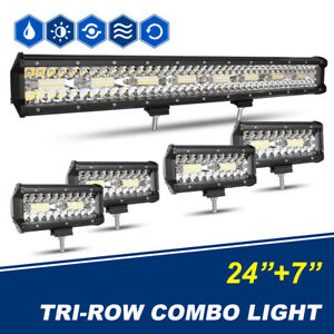 7inch 1120w Led Work Light Bar Pods Spot Flood Combo Beam Driving Offroad Pk 52
