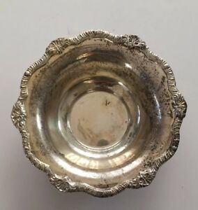 Vintage S G Embossed Silverplate Flower Edged Dish Candy Bowl England 6 5 Dia