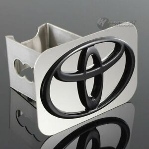 Toyota Black Logo Stainless Hitch Cover Plug Cap For 2 Trailer Tow Receiver