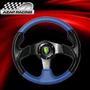 Universal 320mm Racing Steering Wheel Pvc Leather Blue black 6 hole Horn Button