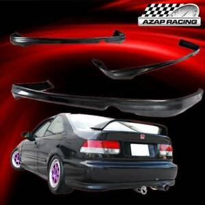 1999 2000 T R Style Black Rear Bumper Lip Spoiler Bodykit Fits Honda Civic 2 4dr