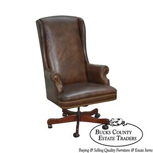 Quality Brown Leather High Back Executive Office Chair D