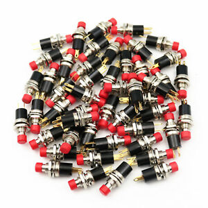 50pcs Red Pb05a 2pin Maintained On off 7mm Mini Push Button Switch Panel Mount