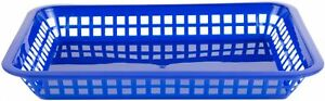 Blue Plastic Reusable Fast Food Basket Rectangular Meal Serving Baskets 48 Pak