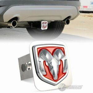 Red Dodge Ram 3d Logo Stainless Steel Hitch Cover Cap For 2 Trailer Receiver