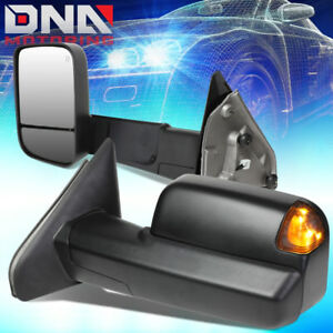 For 2002 2009 Dodge Ram Powered Towing camper Side Mirrors heated puddle Light