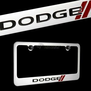 Dodge Logo Chrome Plated Brass License Plate Frame With Black Caps Authentic