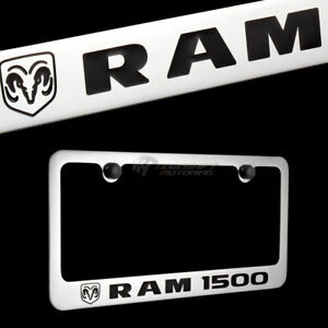 Dodge Ram 1500 Chrome Plated Brass License Plate Frame With Black Cap Authentic