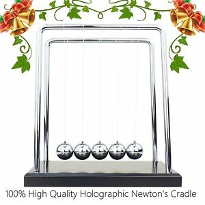 Newtons Cradle Metal Balance Ball Black Wooden Base Stainless Steel Physics Or