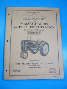 Massey Harris 44 Special Diesel Tractor Repair Parts List 1954 Manual Oem