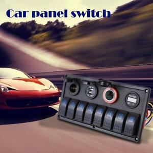 Car Marine Boat 8 gang Waterproof Circuit Blue Led Rocker Switch Panel Breaker