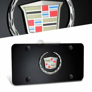 3d Cadillac Logo Front License Plate Frame Black Stainless Steel With Black Caps
