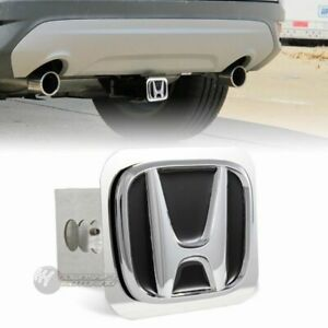 Black Honda Polished Stainless Steel Hitch Cover Cap For 2 Trailer Tow Receiver
