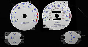 170mph New Silver Gauge Glow Reverse Overlay Faces For 95 99 Mitsubishi Eclipse