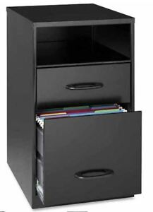 Lorell 2 Drawers Vertical Steel File Cabinet Storage Organizer Black With Shelf