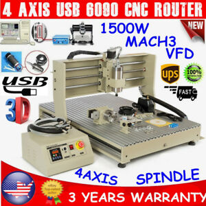 4 Axis Usb 6090 Cnc Router Engraver Drilling Milling Machine Mach3 Vfd 1500w Top