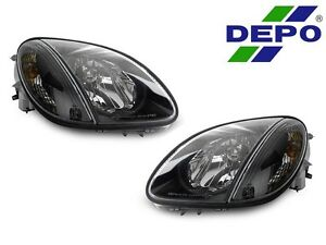 Depo Black Headlights With Corner Light For 1998 04 Mercedes Benz R170 Slk Class