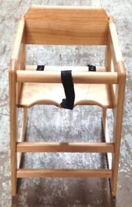 Kids High Chair Natural Wood Booster Seat Durable Restaurant Commercial