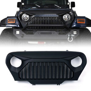 97 06 Jeep Wrangler 1997 2006 Tj Angry Bird Front Mesh Grille Gladiator Black