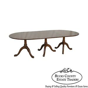 Kittinger Colonial Williamsburg Cw66 Mahogany Triple Pedestal Dining Table