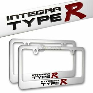 2pcs Acura Integra Type R Chrome License Plate Frame Hand Painted Engraved New