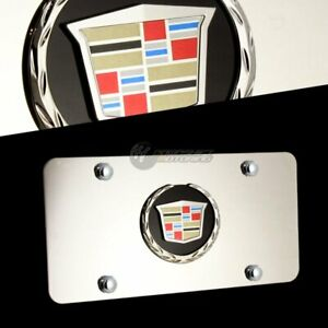 New Cadillac 3d Black Front Stainless Mirror Steel License Plate Frame With Caps