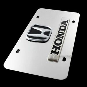 For Honda Logo Front Mirror Stainless Steel License Plate Frame Authentic black